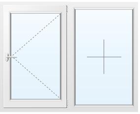 Двухстворчатое пластиковое окно поворотное №23 1200X1200