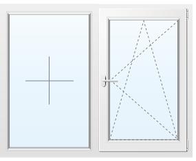 Двухстворчатое окно из сосны №20 1000x1000
