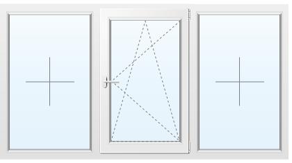 Трехстворчатое окно из сосны №57 2100x1500